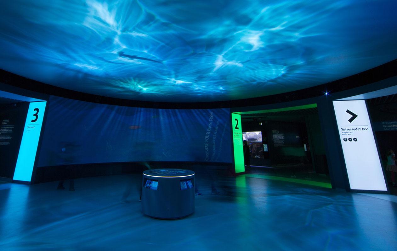 Eindrucksvolle Lichtportale im Zentrum des Aquariums weisen den Weg zu den unterschiedlichen Wasserwelten. Foto: Klaus Reinelt