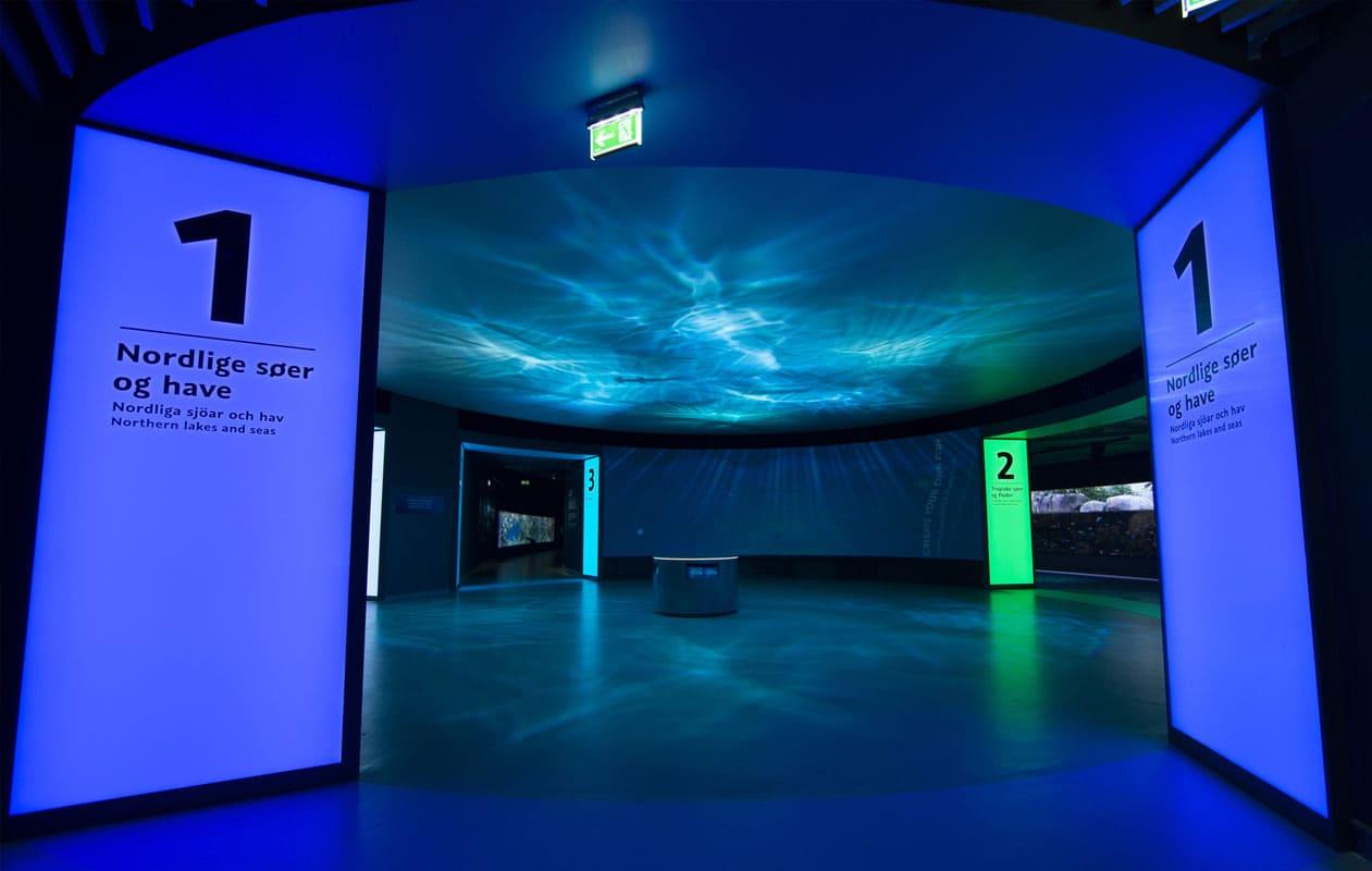 Eindrucksvolle Lichtportale aus Lichtpanel original im Zentrum eines Aquariums weisen den Weg zu den unterschiedlichen Wasserwelten. Foto: Klaus Reinelt