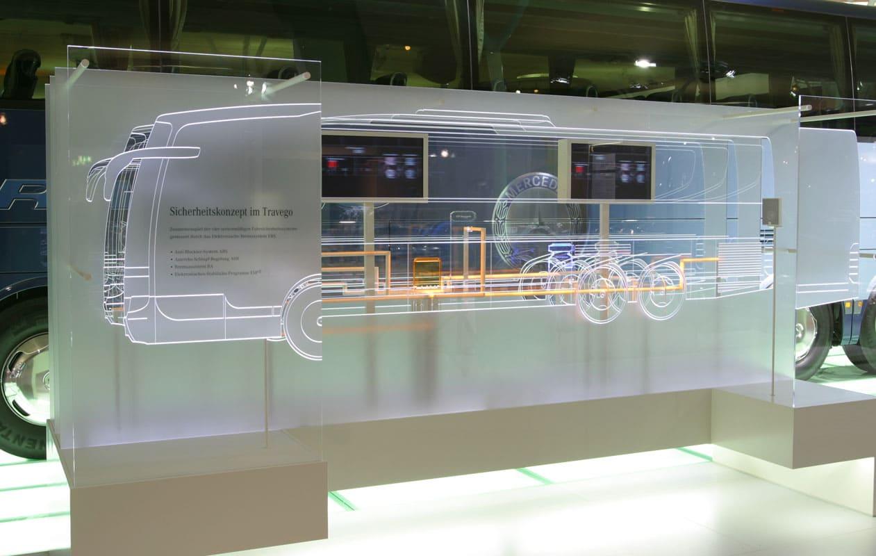 Leuchtschaubild aus lasergraviertem, mit LED-Lichttechnik beleuchtetem Acrylglas. Foto: axis